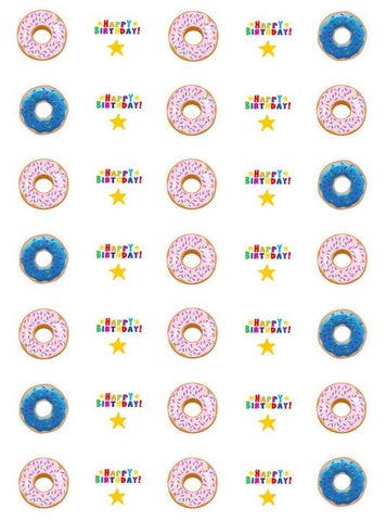 Donut Birthday - Little Mini (3cm diam x 35) Cupcake Edible Images