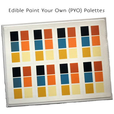 Edible PYO Paint Palette Sheet of 8 (Blue/Rust)