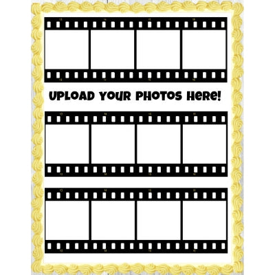 3 Film Strips - Add your 12 photos! - Edible Image Cake Decoration - 19cm x 7cm (x3)