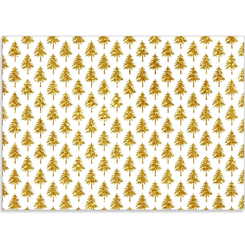 Gold Glitter Christmas Trees - Edible Printed Icing Sheet A4 size