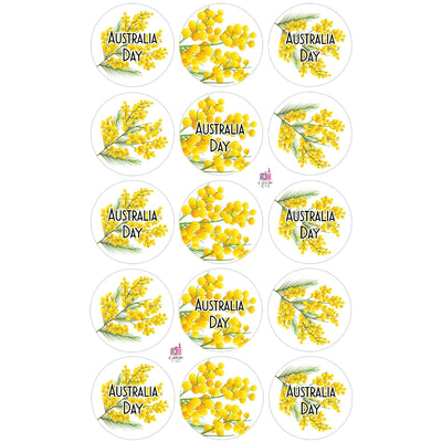 Australia Day Golden Wattle Edible Printed Wafers - 3.7cm x 15pcs