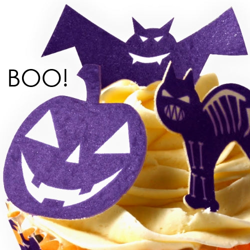 Halloween Shapes - Wafer Card cupcake toppers (12 pieces)