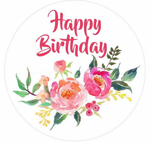 Roses Happy Birthday - 19cm Round Edible Image Cake Topper