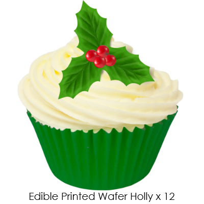 Christmas Edible printed wafer Holly & Berries - 12 pack