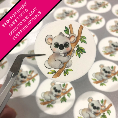 'Kooky' the Koala - 30 x 3.8cm Edible Printed Custom Icing circles ($4 donated to GIVIT Bushfire Appeals)