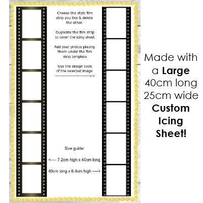 Image of 3 Film Strips - Add your 18 photos! - Edible Image Cake Decoration - 4