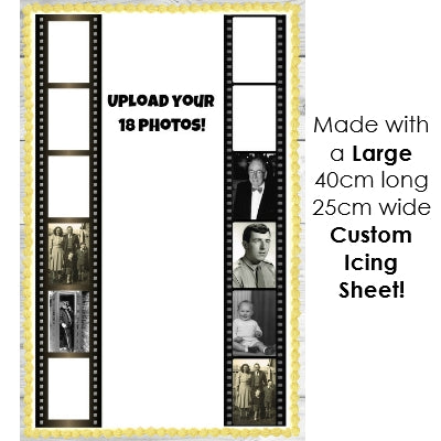 3 Film Strips - Add your 18 photos! - Edible Image Cake Decoration - 40cm x 6.4+cm (x3)