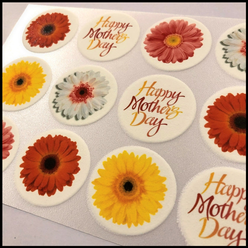 Mother's Day - Edible Printed Icing Cupcake or Cookie Toppers (15 x 3.3cm)