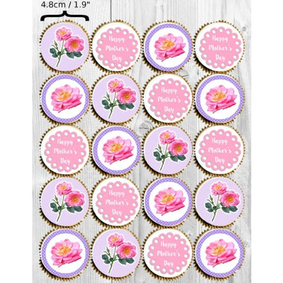 Mother's Day Collection - 20 x 4.8cm diameter edible cupcake toppers