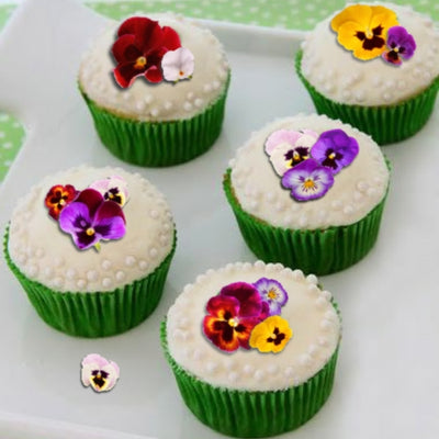 Edible Wafer Card Pansy Flowers - 38 pieces