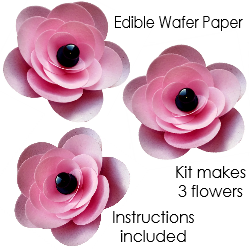 Pre-cut edible wafer paper flower kit - Pink x 3