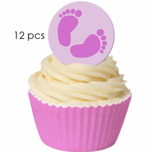 Pink Baby Feet - 3.8cm Edible Wafer Cupcake Toppers (12 pieces)