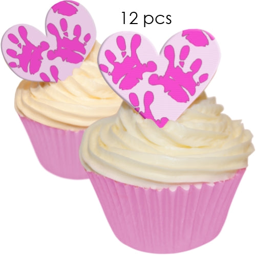 Pink Baby Hands - 5.5cm Edible Wafer Cupcake Toppers (12 pieces)
