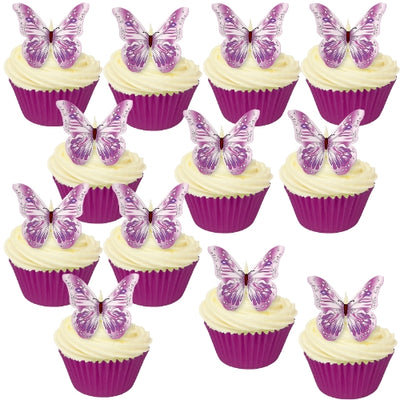 Pink & Purple Edible Wafer Butterflies (12 pieces)
