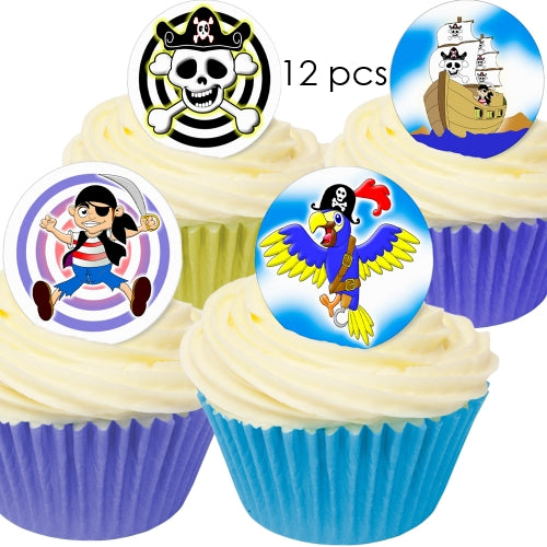 Pirate - 3.8cm Edible Wafer Cupcake Toppers (12 pieces)