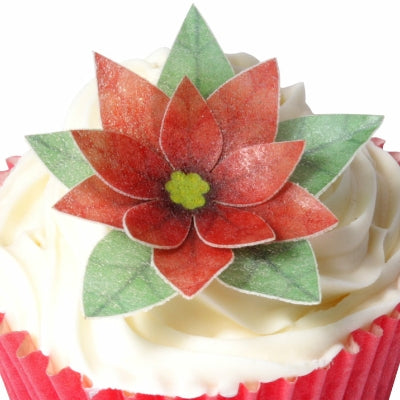 Edible Wafer Christmas Poinsettia cupcake toppers - Makes 6