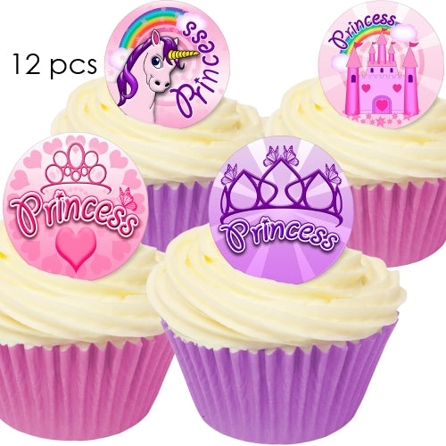 Unicorn Princess - 3.8cm Edible Wafer Cupcake Toppers (12 pieces)