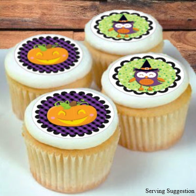 Pumpkin & Owl Edible Image Cupcake/Cookie Toppers 4.8cm diam x 20