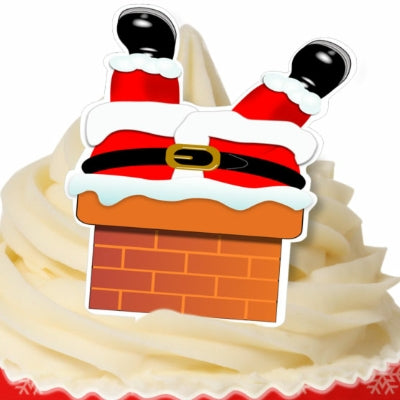 Edible Wafer 'Santa in the chimney' cupcake toppers - 12 pack