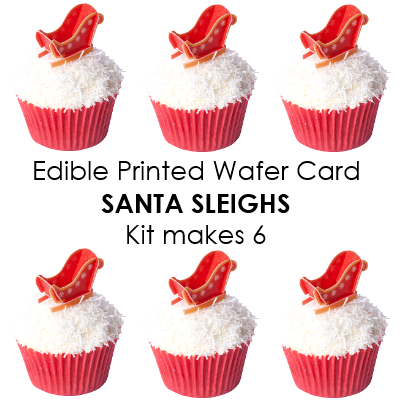 Christmas Edible wafer card Santa Sleigh kit - Makes 6