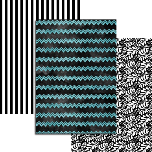 Black & Teal Collection - 3 sheets Edible Printed Wafer Paper A4