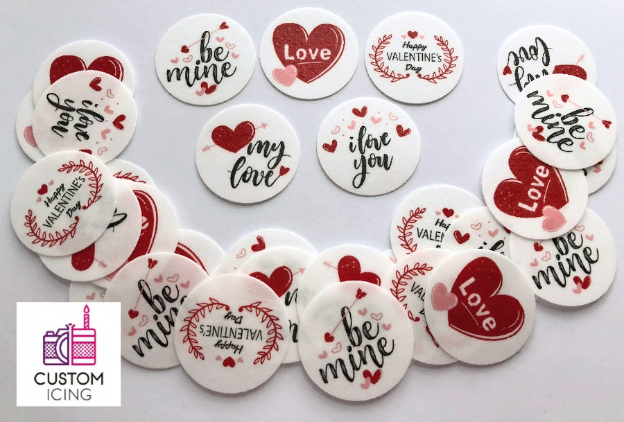 Valentine's Day Edible Printed Wafers - 3.7cm x 35pcs