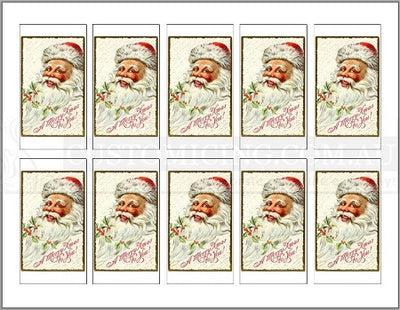 Mini Rectangle Vintage Christmas Santas Custom Icing Edible Images