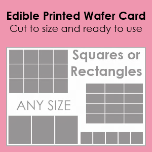 Edible Printed Wafer Card - Rectangles & Squares - Any size onto A4 sheet