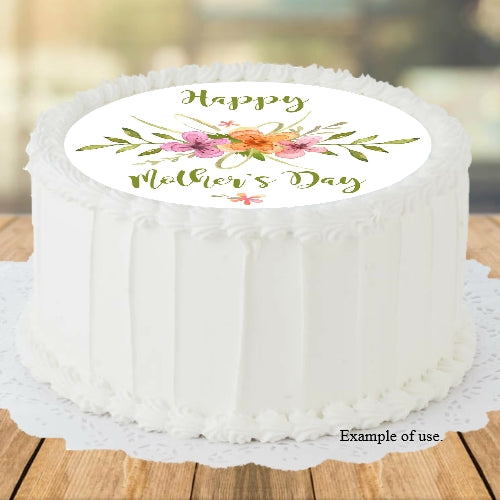 Mother's Day Wildflowers - Edible Image Cake Topper - 19cm diameter