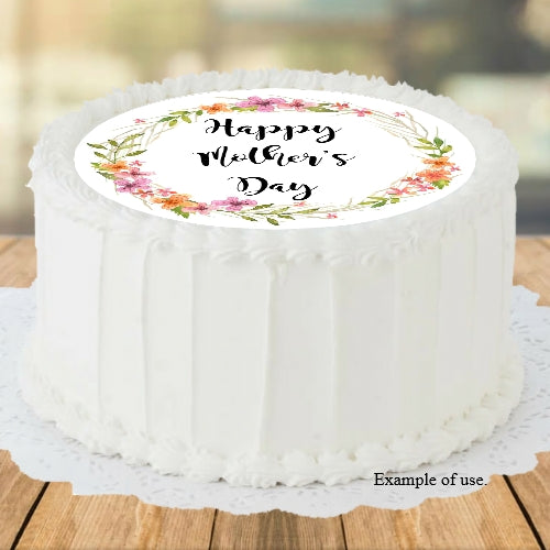 Mother's Day Wildflower Wreath - Edible Image Cake Topper - 19cm diameter