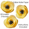 Pre-cut edible wafer paper flower kit - Yellow x 3