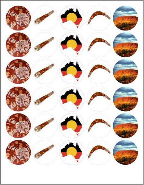 Australian Aboriginal Theme Mini Cupcake Edible Toppers