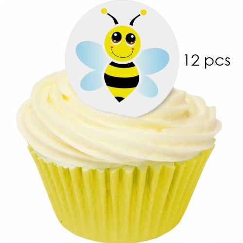 Bee - 3.8cm Edible Wafer Cupcake Toppers (12 pieces)