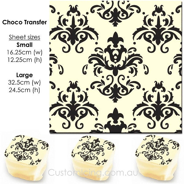 Damask (Black) - Choco Transfer Sheet
