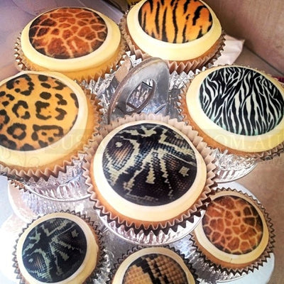 Mini Cupcake Animal Print Edible Image Cake Toppers (7 prints available)