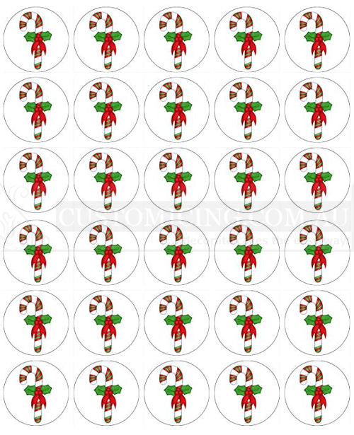 Christmas Candy Cane Mini Cupcake Edible Image Toppers 3.8cm x 30
