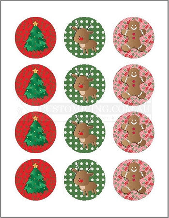 Designer Christmas Edible Image 5.5cm x 12 Cupcake Cookie Toppers
