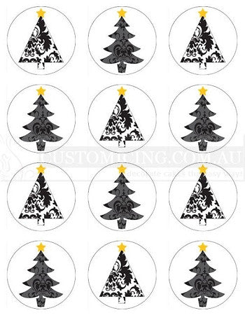 Damask Christmas Trees Edible Image Cupcake Toppers 5.5cm diameter