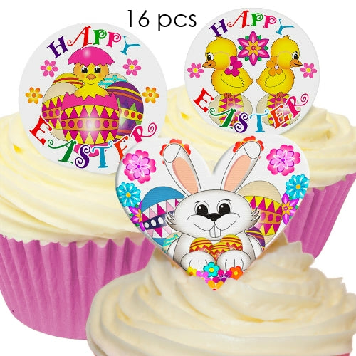 Easter theme - Edible Wafer Cupcake Toppers (16 pieces)