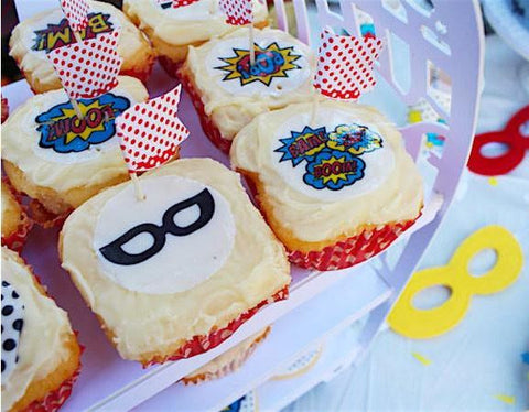 Superhero Action - 20 x Edible Image Cupcake Toppers