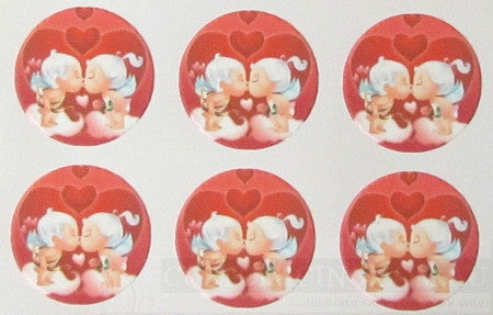 Valentine's Kissing Cupids 6 Cupcake Edible Images