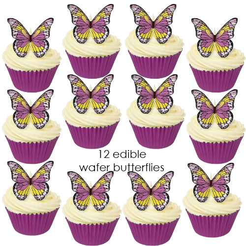 Purple & Yellow Edible Wafer Butterflies (12 pieces)