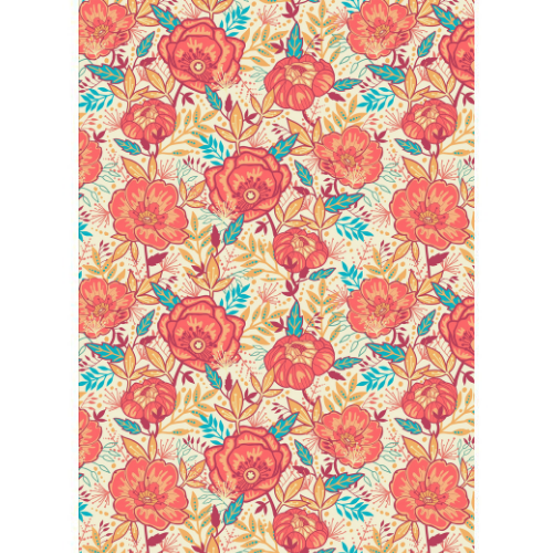 Red & teal floral Wafer Paper A4