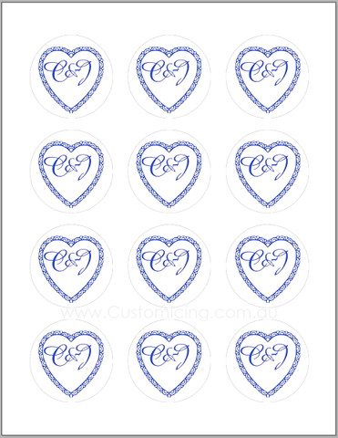Royal Blue Filigree Heart Cupcake Edible Images