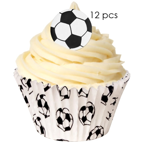 Soccer Ball - 3.8cm Edible Wafer Cupcake Toppers (12 pieces)