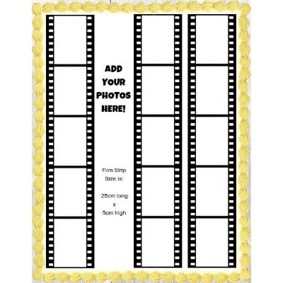 3 Film Strips - Add your 15 photos! - Edible Image Cake Decoration - 25cm x 5cm (x3)