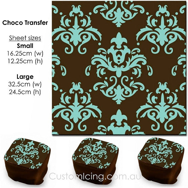 Damask (Teal) - Choco Transfer Sheet