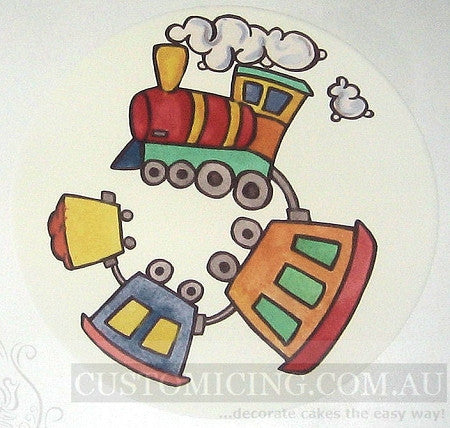 Train 19cm Round Designer Edible Image Cake Topper