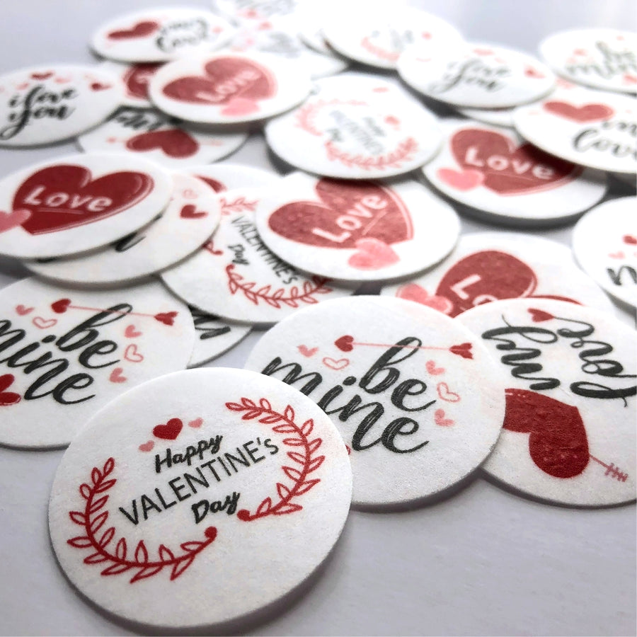 Valentine's Day Edible Printed Wafers 3.7cm - Mini Pack 5pcs