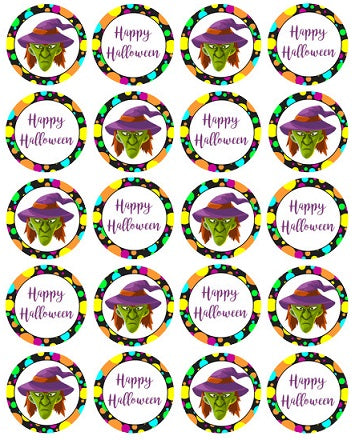 Witch Happy Halloween Edible Image Cupcake/Cookie Toppers 4cm diam x 20